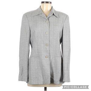 Zanella Semi Tweed Button Front Jacket Blazer